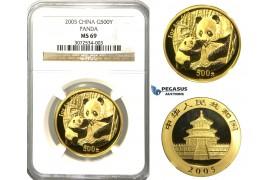 N73, China, 500 Yuan 2005 (Gold Panda) 1 Oz. (.999 Fine gold) NGC MS69