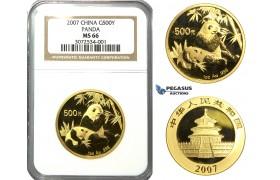 N75, China, 500 Yuan 2007 (Gold Panda) 1 Oz. (.999 Fine gold) NGC MS66