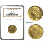N77, France, Napoleon, 20 Francs 1812-W, Lille, Gold, NGC MS61