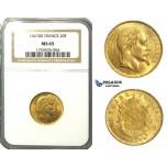 N78, France, Napoleon III, 20 Francs 1867-BB, Strasbourg, Gold, NGC MS65