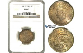 N80, Cyprus, George VI, 9 Piastres 1940, Silver, NGC MS63