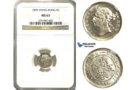 R173, Hong Kong, Victoria, 5 Cents 1895, Silver, NGC MS63