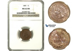 N91, United States, Indian Cent 1885, NGC MS62