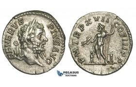 N96, Roman Empire, Septimius Severus (193-211 AD) AR Denarius (3.05g) 210 AD, Rome, Jupiter, High Grade!