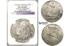 N97, Austria, Archduke Ferdinand, Taler ND, Hall, Silver, NGC UNC Details