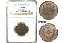 N99, British North Borneo, ½ Cent 1886-H, Heaton, NGC AU58BN