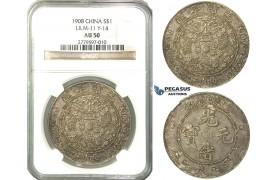 O02, China, 7 Mace 2 Candareens (Dollar) ND (1908) Tientsin, Silver, L&M 11, NGC AU50, Fine toning! Rare!