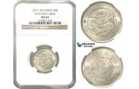 O03, China, Yunnan, 1 Mace 4.4 Candareens (20 Cents) ND (1911-15) Silver, L&M 423, NGC MS62, Rare!