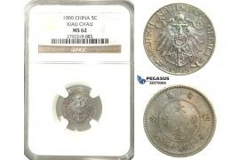 O04, China, Kiau Chau, 5 Cents 1909, NGC MS62