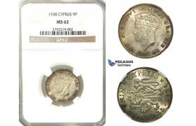 O05, Cyprus, George VI, 9 Piastres 1938, Silver, NGC MS62