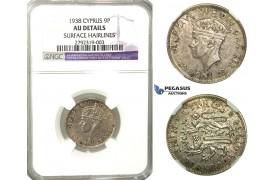 O06, Cyprus, George VI, 9 Piastres 1938, Silver, NGC AU Details