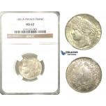 O10, France, 3rd Republic, CERES Franc 1851-A, Paris, Silver, NGC MS62
