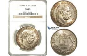 O15, Hungary, Franz Joseph, 5 Korona 1908 K-B, Kremnitz, Silver, NGC MS65 (Pop 1/2, No finer)
