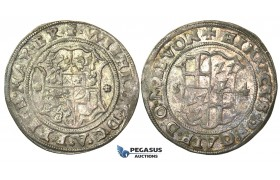 O150, Baltic Livonian Order, Riga, Henry of Galen and William of Brandenburg, 1/2 Mark 1554, Riga, Silver, Ex. Kieler Collection