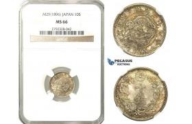 O16, Japan, Meiji, 10 Sen Year 29 (1896) Silver, NGC MS66 (Pop 1/1, Finest)