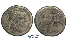 O40, Roman Republic, Anonymous (211-208 BC) AR Denarius (3.68g) Rome, Dioscuri, Nice!
