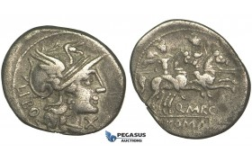 O42, Roman Republic, Q. Marcius Libo (148 BC) AR Denarius (3.54g) Rome, Dioscuri