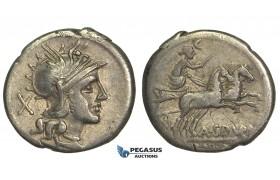 O43, Roman Republic, A. Spurilius (139 BC) AR Denarius (3.79g) Rome, Biga
