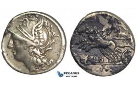 O47, Roman Republic, C. Coilius Caldus (104 BC) AR Denarius (3.81g) Rome, Biga