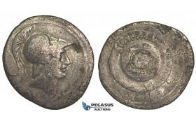 O60, Roman Imperatorial, The Triumvirs, Octavian. (30-29 BC) AR Denarius (2.79g) Italy, Mars, Rare!