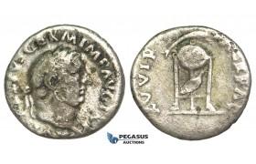 O65, Roman Empire, Vitellius (69 AD) AR Denarius (2.94g) Rome, Dolphin, Rare!