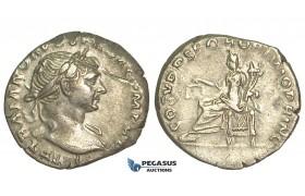 O71, Roman Empire, Trajan (98-117 AD) AR Denarius (3.43g) Struck 103 AD, Rome, Aequitas