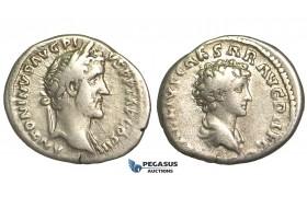 O74, Roman Empire, Antoninus Pius, with Marcus Aurelius as Caesar (138-161 AD) AR Denarius (3.20g) Struck 141-143 AD, Rome