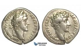 O75, Roman Empire, Antoninus Pius, with Marcus Aurelius as Caesar (138-161 AD) AR Denarius (3.06g) Struck 141 AD, Rome