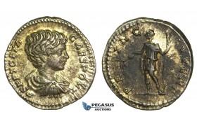 O76, Roman Empire, Geta, Caesar (198-209 AD) AR Denarius (2.98g) Rome