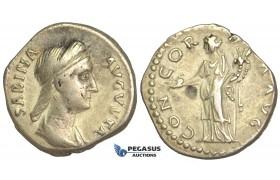O78, Roman Empire, Sabina. Augusta (128-136/7. AD) AR Denarius (3.26g) Struck 134-136 AD, Rome, Concordia