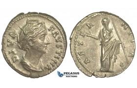 O79, Roman Empire, Diva Faustina Senior. (Died 140/1 AD) AR Denarius (3.16g) Struck 146-161 AD, Rome, Juno