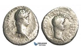 O82, Roman Provincial, Caesarea, Claudius with Nero (54-68 AD) AR Denarius (2.90g) Cappadocia, struck 56-58 AD, Rare!