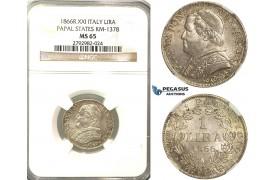 O85, Italy, Papal States, Pius IX, Lira 1866-R (XXI) Rome, Silver, NGC MS65 (Pop 1/2, No finer)