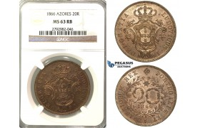 O88, Portugal, Azores, 20 Reis 1866, NGC MS63RB