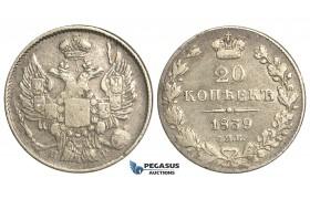 O94, Russia, Nicholas I, 20 Kopeks 1839 СПБ-НГ, St. Petersburg, Silver