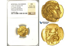 P01, Black Sea Region, Bithynia, Type of Lysimachus (323-281 BC) AV Stater (8.43g) Gold, Calchedon, NGC MS, Very rare so nice!