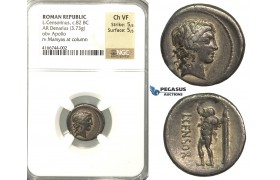P03, Roman Republic, L. Censorinus (c. 82 BC) AR Denarius (3.73g) Rome, Marsya, NGC Ch VF