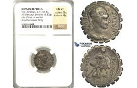 P05, Roman Republic, Mn. Aquillius (ca. 71/65 BC) AR Denarius Serratus (3.82g) Rome, Sicily, NGC Ch VF