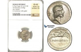 P06, Roman Republic, C. Piso Frugi (67 or 61 BC) AR Denarius (3.64g) Rome, Apollo/Palm, NGC Ch XF