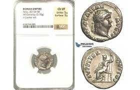 P09, Roman Empire, Nero (54-68 AD) AR Denarius (3.18g) Rome, Jupiter, NGC Ch VF