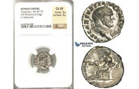 P10, Roman Empire, Vespasian (69-79 AD) AR Denarius (3.22g) Rome, Vesta, NGC Ch XF