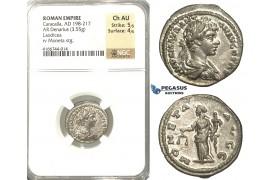 P14, Roman Empire, Caracalla (198-217 AD) AR Denarius (3.55g) Laodicea, Moneta, NGC Ch AU
