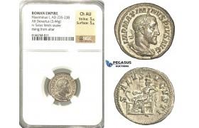P16, Roman Empire, Maximinus (235-238 AD) AR Denarius (3.44g) Rome, 236 AD, Salus, NGC Ch AU