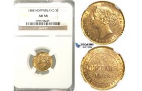 R301, Newfoundland, Victoria, 2 Dollars 1888, Gold, NGC AU58