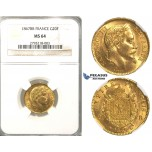 P19, France, Napoleon III, 20 Francs 1867-BB, Strasbourg, Gold, NGC MS64