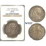 P20, Romania, Carol I, 5 Lei 1881-B, Bucharest (As King) Silver, NGC AU58, Rare!