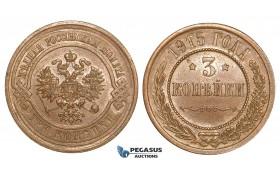 P39, Russia, Nicholas II, 3 Kopeks 1915, St. Petersburg, High Grade!