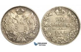 P41, Russia, Nicholas I, 20 Kopeks 1840 СПБ-НГ, St. Petersburg, Silver, Very Nice!
