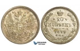 P42, Russia, Alexander II, 20 Kopeks 1879 СПБ-НФ, St. Petersburg, Silver, Top Grade (Minimal hairlines)