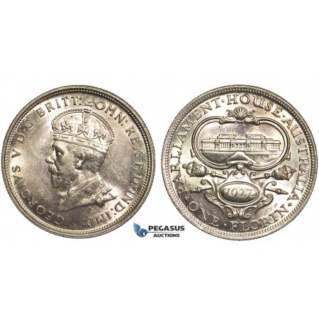 P47, Australia, George V, Parliament Florin 1927, Canberra, Silver, Mint State (Minor Hairlines)